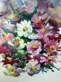 水彩艺术背景摘要紫色白色紫罗兰开花狂放五颜六色织地不很细 库存照片