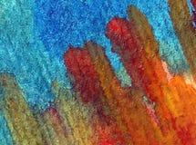 水彩艺术背景摘要紫色红色橙色五颜六色的织地不很细红色橙色冲程 免版税库存图片
