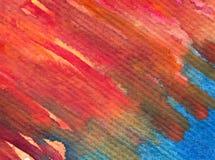 水彩艺术背景摘要紫色红色橙色五颜六色的织地不很细红色橙色冲程 库存照片