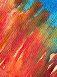 水彩艺术背景摘要紫色红色橙色五颜六色的织地不很细红色橙色冲程 免版税图库摄影
