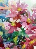 水彩艺术背景摘要花狂放的草甸桃红色紫罗兰色愉快五颜六色织地不很细 库存照片