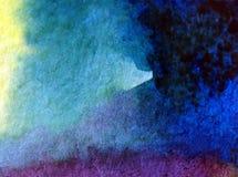 水彩艺术背景摘要蓝色紫罗兰色黑暗夜空五颜六色织地不很细 免版税库存图片