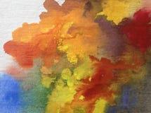水彩艺术背景摘要风景秋天五颜六色织地不很细 免版税库存照片