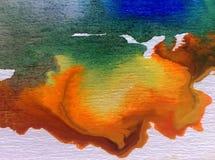 水彩艺术背景精美五颜六色的创造性的蓝色秋天污点弄脏overfow天空自然 免版税库存图片
