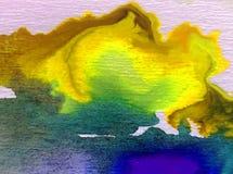 水彩艺术背景精美五颜六色的创造性的蓝色秋天污点弄脏overfow天空自然 库存照片