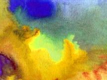 水彩艺术背景精美五颜六色的创造性的蓝色秋天污点弄脏overfow天空自然 免版税库存照片