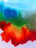水彩艺术背景精美五颜六色的创造性的蓝色红色污点弄脏overfow天空自然 免版税库存图片
