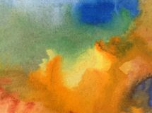 水彩艺术背景精美五颜六色的创造性的蓝色黄色秋天污点弄脏overfow天空自然 免版税库存图片