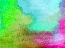 水彩艺术背景精美五颜六色的自然天空日出新鲜浪漫 免版税图库摄影