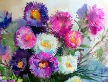 水彩艺术背景精美五颜六色的自然开花翠菊花束新鲜浪漫 库存图片