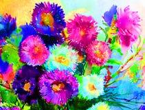 水彩艺术背景精美五颜六色的自然开花翠菊花束新鲜浪漫 免版税库存图片