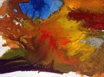 水彩艺术背景精美五颜六色的自然秋天树新鲜浪漫 免版税库存图片