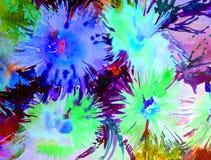 水彩艺术背景精美五颜六色的自然翠菊花新鲜浪漫 免版税库存照片