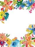 水彩花与空白的拷贝空间的框架例证 库存图片