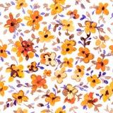 水彩花卉手拉的五颜六色的明亮的无缝的样式 库存图片