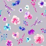 水彩花卉手拉的五颜六色的明亮的无缝的样式 免版税库存图片