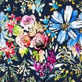 水彩花卉手拉的五颜六色的明亮的无缝的样式 免版税库存照片