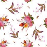 水彩花卉样式,精美花,黄色,蓝色和桃红色花,贺卡模板 库存例证