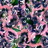 水彩花卉重复样式 可以使用作为印刷品为织品,婚姻的邀请的背景 库存例证