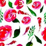 水彩花卉重复样式 可以使用作为印刷品为织品,婚姻的邀请的背景 库存照片