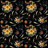 水彩花和蝴蝶的万圣夜样式 皇族释放例证