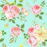 水彩花纹花样 库存照片