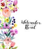 水彩花边界 库存照片