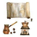 水彩葡萄酒套船舶老地图、磨咖啡器,咖啡豆和cezve手拉隔绝在白色 ? 皇族释放例证