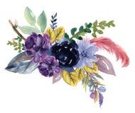 水彩葡萄酒花卉玫瑰色向日葵牡丹大丁草和abstact花或叶子构成桃红色和海军和蓝色和marsala 向量例证