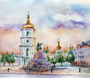 水彩街道视域例证 基辅市 乌克兰 免版税图库摄影