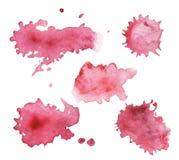 水彩被绘桃红色的一套飞溅 库存照片