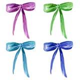水彩设置与紫罗兰色,绿色,浅兰,深刻的蓝色弓 库存例证