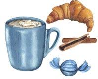 水彩设置与饮料和甜点 向量例证