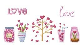 水彩设置了充满树、心脏、植物、船和爱 免版税库存图片