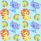 水彩逗人喜爱的动物大象,狮子和球无缝的样式 库存例证