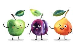 水彩逗人喜爱的果子字符 免版税库存照片