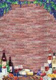 水彩酒杯和瓶装饰用可口食物 库存图片
