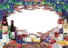水彩酒杯和瓶装饰用可口食物 库存照片