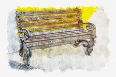 水彩长的木椅子的绘画例证在黄色的 向量例证