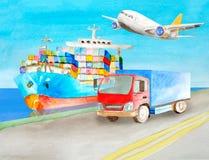 水彩集装箱船和卡车立场在附近的码头例证的在后勤学题目 货物运输 皇族释放例证