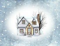水彩雪的冬天房子 向量例证