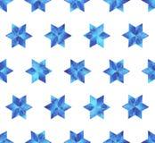 水彩雪花无缝的样式 空白背景蓝色的雪花 库存图片