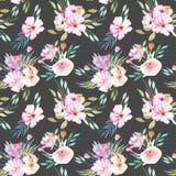 水彩领域康乃馨、玫瑰和绿色分支花束无缝的样式 免版税库存照片