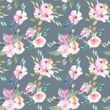 水彩领域康乃馨、玫瑰和绿色分支花束无缝的样式 免版税库存图片