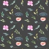 水彩领域康乃馨和绿色分支无缝的样式 库存照片