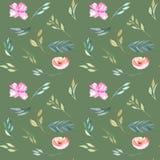 水彩领域康乃馨和绿色分支无缝的样式 库存图片