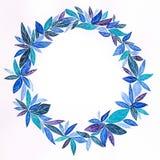 水彩,与夜震动的手工制造,蓝色叶茂盛花圈,与白色胶凝体笔乱画 向量例证