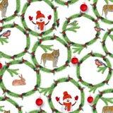 水彩 冷杉分支、红色莓果、鸟、老虎、兔子和雪人圣诞节花圈  向量例证