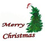 水彩 圣诞节结构的在一个盖帽的云杉有题字的 库存例证
