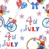 水彩7月无缝的样式第4与美国国家的假日的红色,白色和蓝色标志的 向量例证